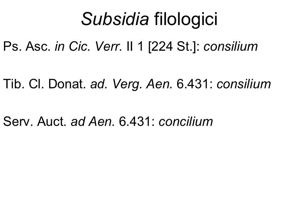 Subsidia filologici Ps. Asc. in Cic. Verr. II 1 [224 St.]: consilium